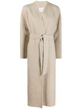 Agnona belted long length coat - NEUTRALS