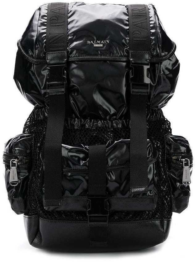 Balmain utility pocket backpack - Black