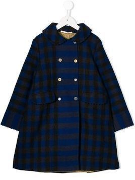Pero Kids checked double breasted coat - Blue
