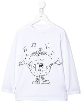 Stella McCartney Kids singing Christmas pudding T-shirt - White
