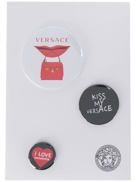 Versace mixed printed logo pins - Black
