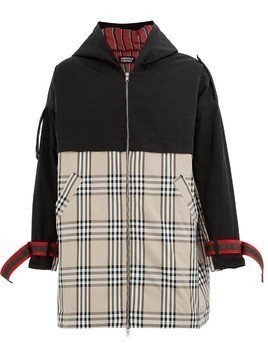 Andrea Crews check panel coat - Black