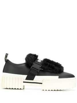 Diesel faux fur trim sneakers - Black