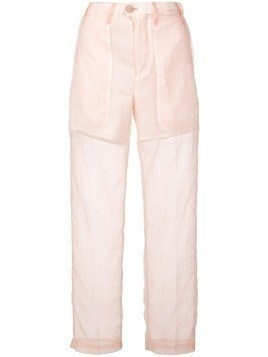 Julien David slim sheer trousers - Pink