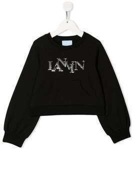 Lanvin Enfant sequin logo sweatshirt - Black