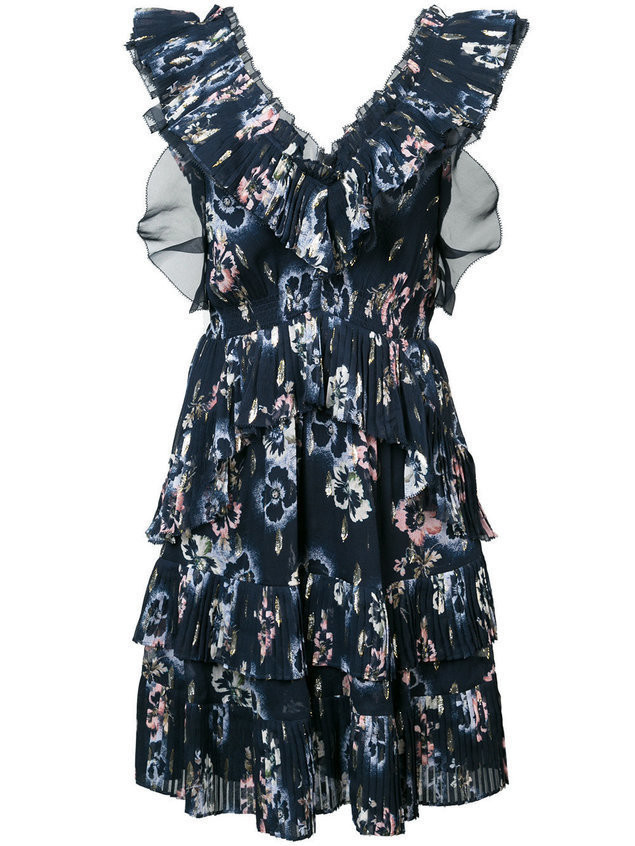 Rebecca Taylor floral print ruffle dress - Blue