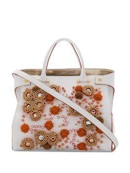 Giancarlo Petriglia Paloma beaded tote - White