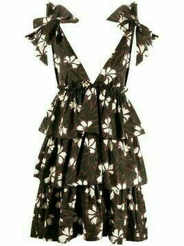 P.A.R.O.S.H. floral-print ruffled dress - Brown