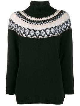 Lamberto Losani argyle knit roll neck sweater - Black