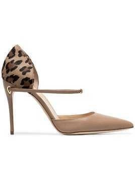 Jennifer Chamandi beige and leopard Eric 105 leather pumps - Neutrals