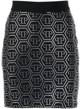 Philipp Plein embellished logo skirt - Black