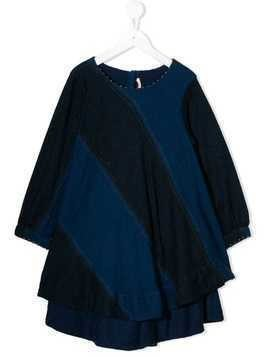 Pero Kids diagonal striped dress - Blue