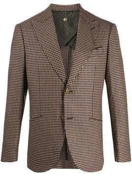 Maurizio Miri houndstooth single-breasted blazer - Brown