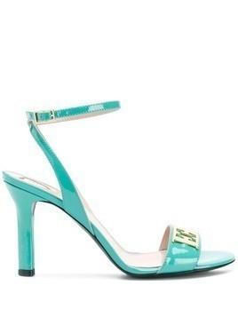 Escada logo plaque heeled sandals - Green