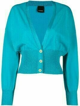 Pinko cropped metallic-knit cardigan - Blue