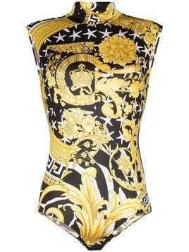 Versace Baroque pattern sleeveless bodysuit - White