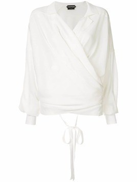 Tom Ford long-sleeve wrap blouse - White