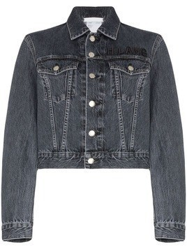 Helmut Lang logo embroidered cropped denim jacket - Blue