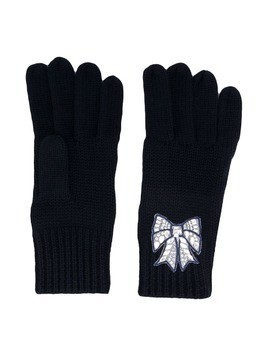 Monnalisa embroidered bow gloves - Blue