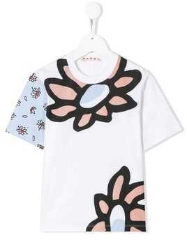 Marni Kids large flower print T-shirt - White