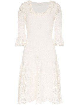 Alexander McQueen crochet frill fit and flare dress - White