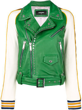 Dsquared2 studded contrast leather jacket - Green