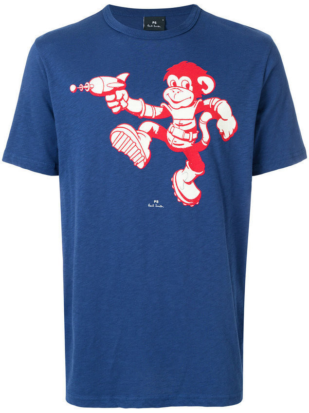 Ps By Paul Smith - monkey print T-shirt - Herren - Cotton - XXL - Blue