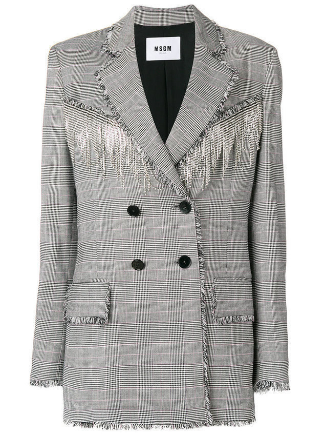 MSGM crystal embellished houndstooth jacket - Grey