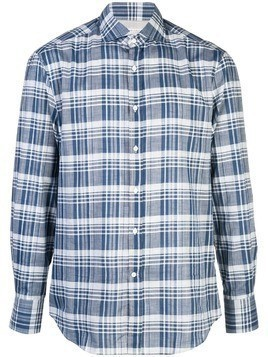 Brunello Cucinelli plaid print shirt - Blue