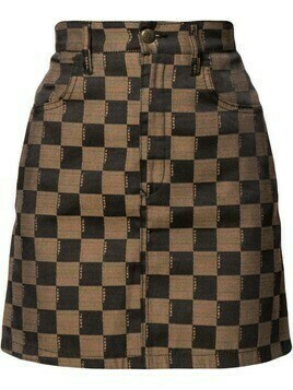 Fendi Pre-Owned Pequin check pattern skirt - Brown