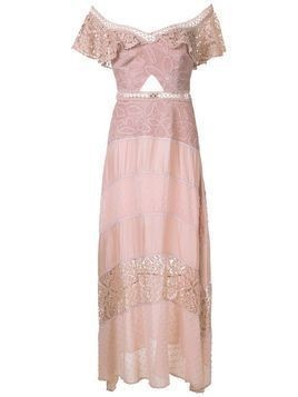 Martha Medeiros Rachel lace panelled gown - PINK