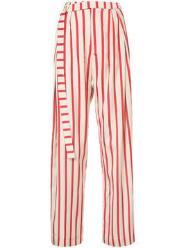 Christopher Esber striped multi-tuck pants - Red