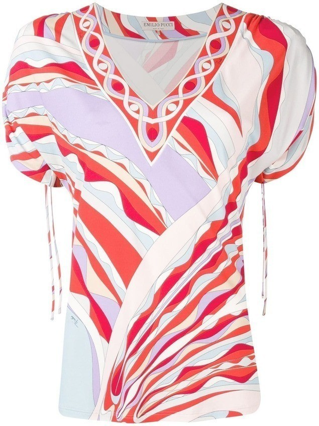 Emilio Pucci Burle Print Ruched Short Sleeved Top - PINK