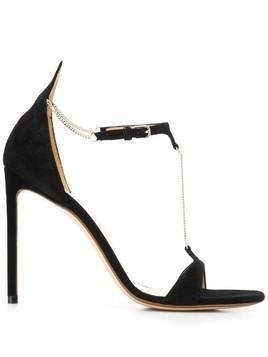 Francesco Russo chain stiletto sandals - Black