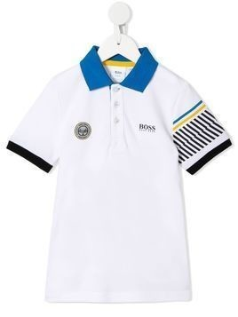 Boss Kids striped-sleeve polo shirt - White