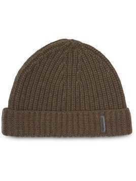 Burberry Rib Knit Cashmere Beanie - Green