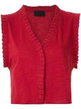 Andrea Bogosian pleated trim Poncho blouse - Red