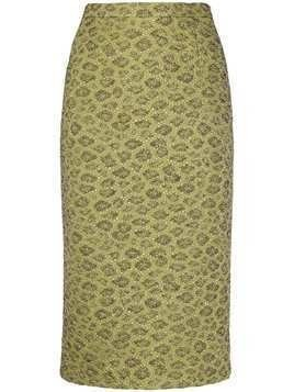Rochas metallic floral embroidered pencil skirt - Green