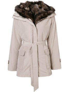 Max & Moi belted fur lined parka - Neutrals