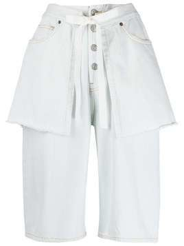 Mm6 Maison Margiela layered effect denim shorts - White