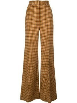 Khaite flared gingham trousers - Brown