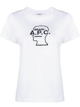 A.P.C. x Brain Dead logo embroidered T-shirt - White