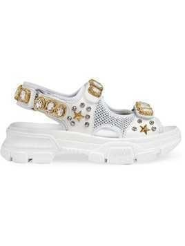 Gucci Leather and mesh sandal with crystals - White