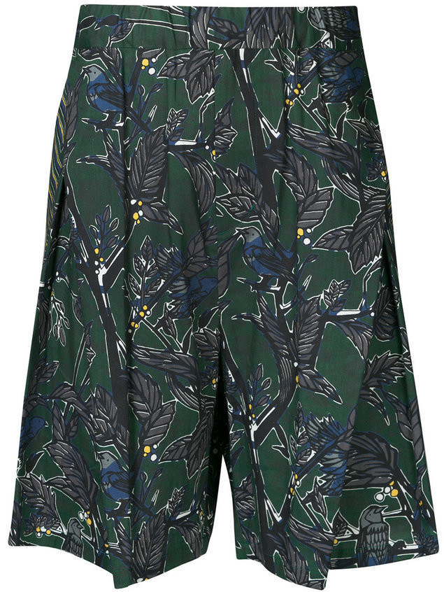 Yoshiokubo Dry Leaf tuck shorts - Green