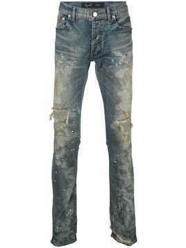 Fagassent dirty distressed skinny jeans - Blue
