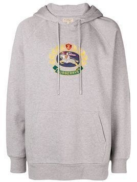 Burberry logo patch hoodie - Grey