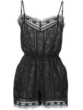 Goen.J lace panel playsuit - Black
