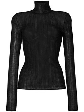 Theory sheer knitted ribbed top - Black