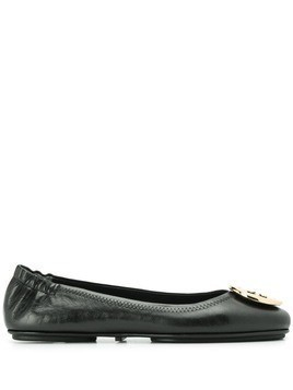 Tory Burch logo plaque ballerina shoes - Black