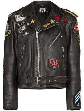 Rockins patch detail biker jacket - Black